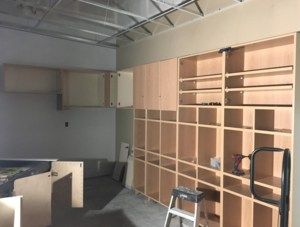 Workers have been installing casework for stargae in this classroom.