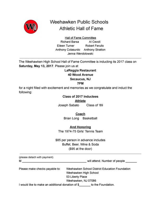Weehawken Hall of Fame Dinner