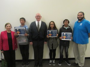 Mr. Waters' with video game design winners.