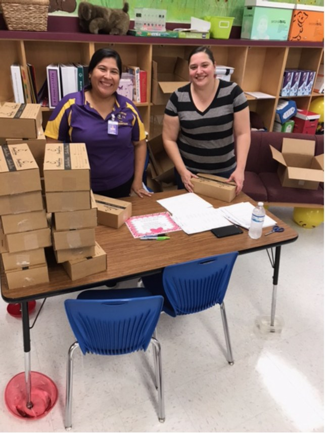 PTO Treasurer (Priscilla Guajardo) and Parliamentarian (Celina Gonzales) working on Candy Fundraiser Distribution after school :)