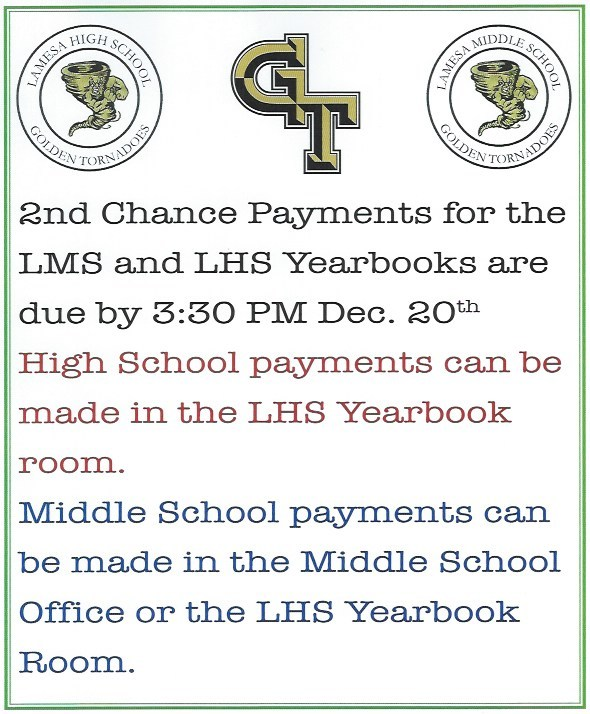 Second chance to pay for your yearbook! Thumbnail Image