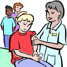 clip art of student getting a shot