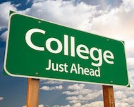 Sign stating College Just Ahead
