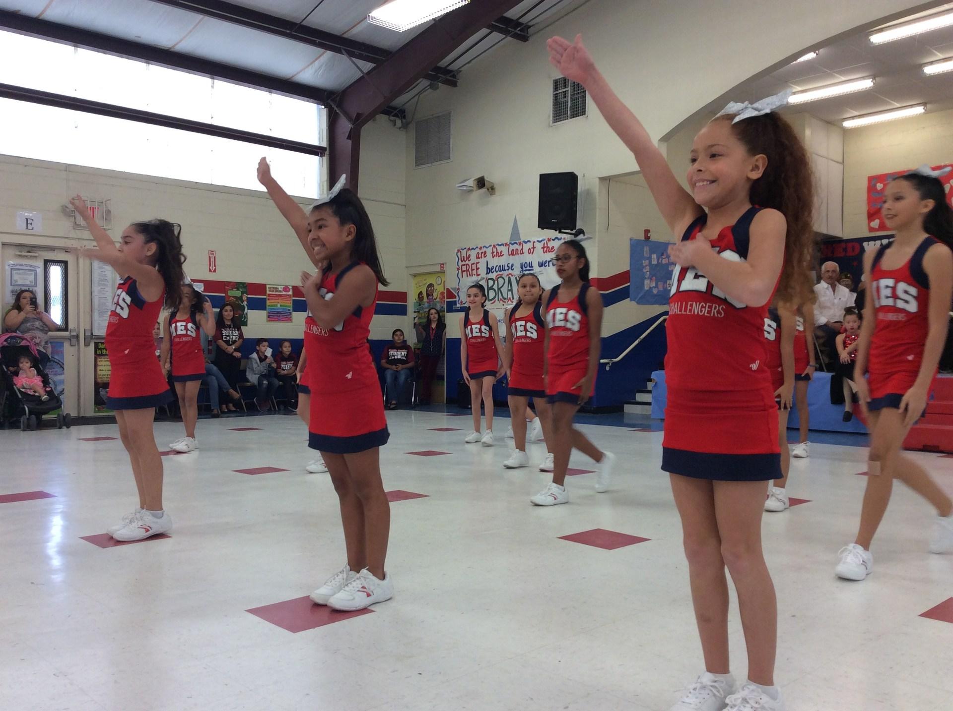 cheerleaders in the gym.
