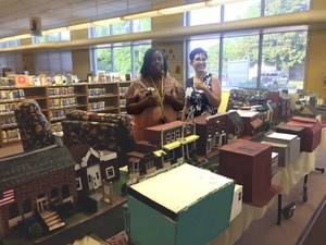 model of downtown smithfield displayed in smithfield library