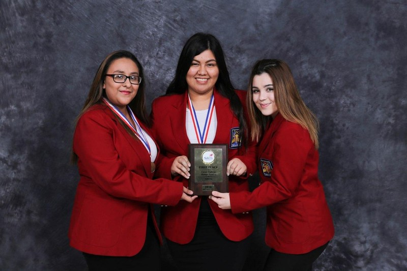 Pictured are Dariana De Leon, Lizbeth Meza and Julianna Torres which took First Place in Career Pathways.