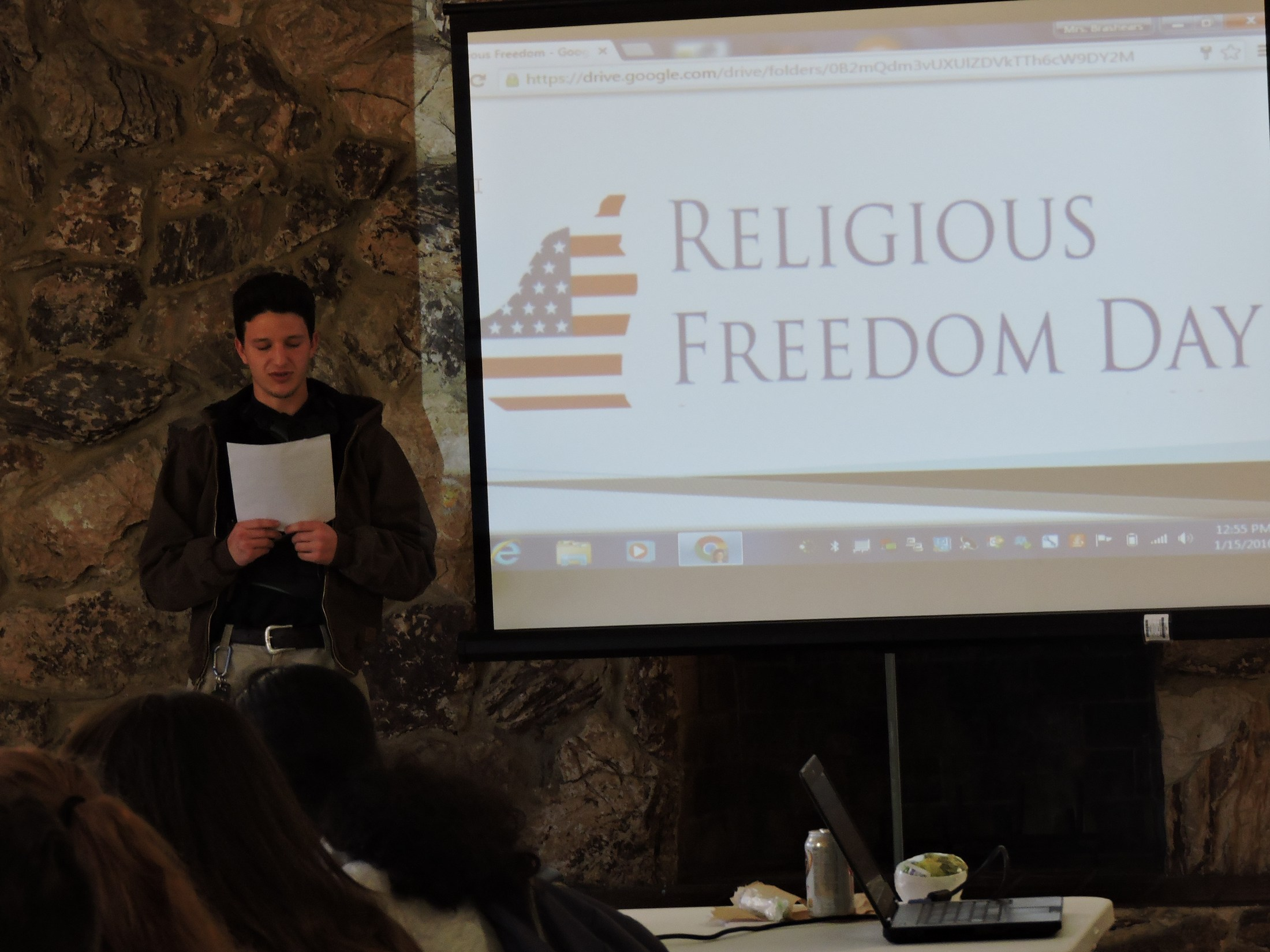 student speaking at religious freedom day