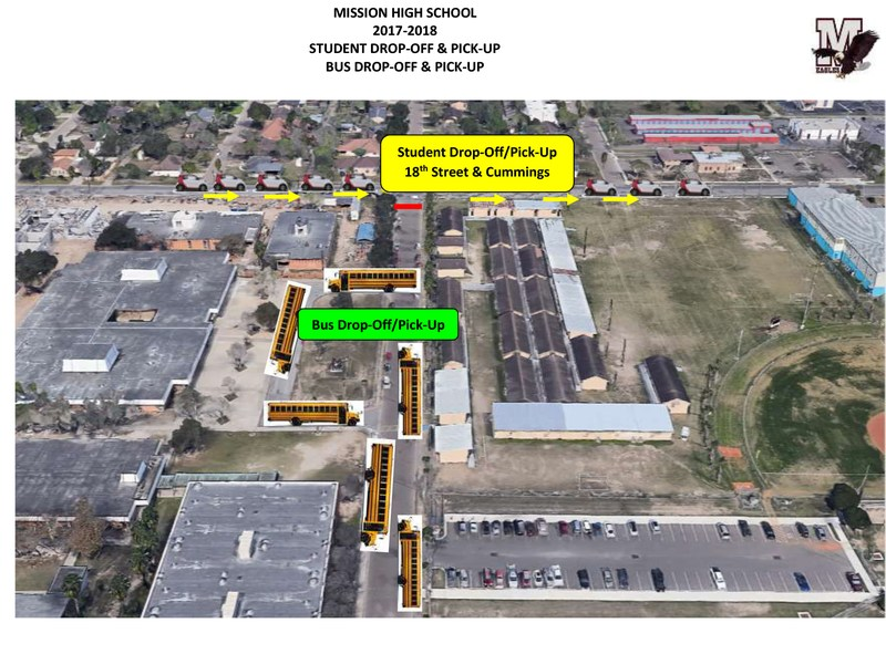 Graphic showing new traffic pattern for Mission High School