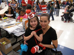 Mom and daughter in Dr. Seuss costumes