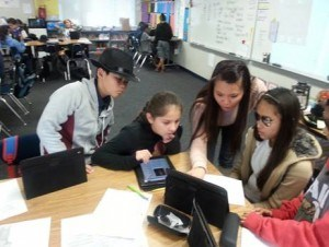 Students working with technology