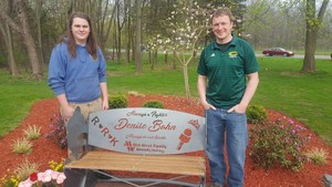 Denise Bohn memorial bench created by Coloma High School senior Justin Ludwig with his teacher Chuck Luchies