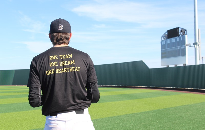Jackets baseball player on the field