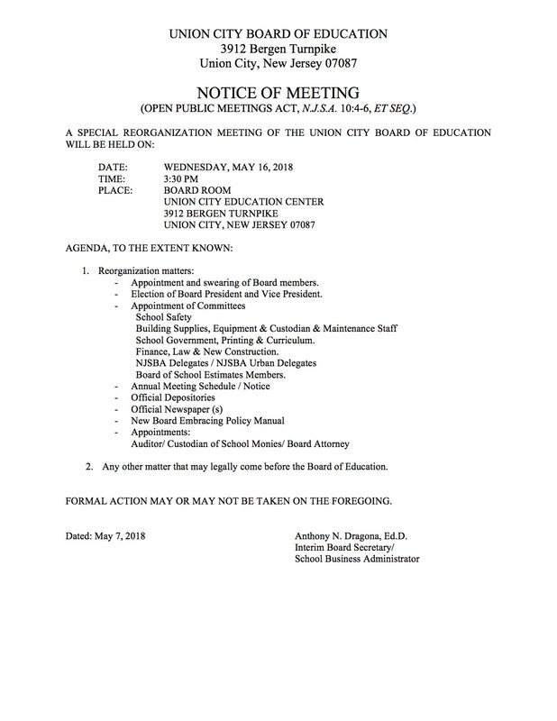 Reorganization Meeting Notice