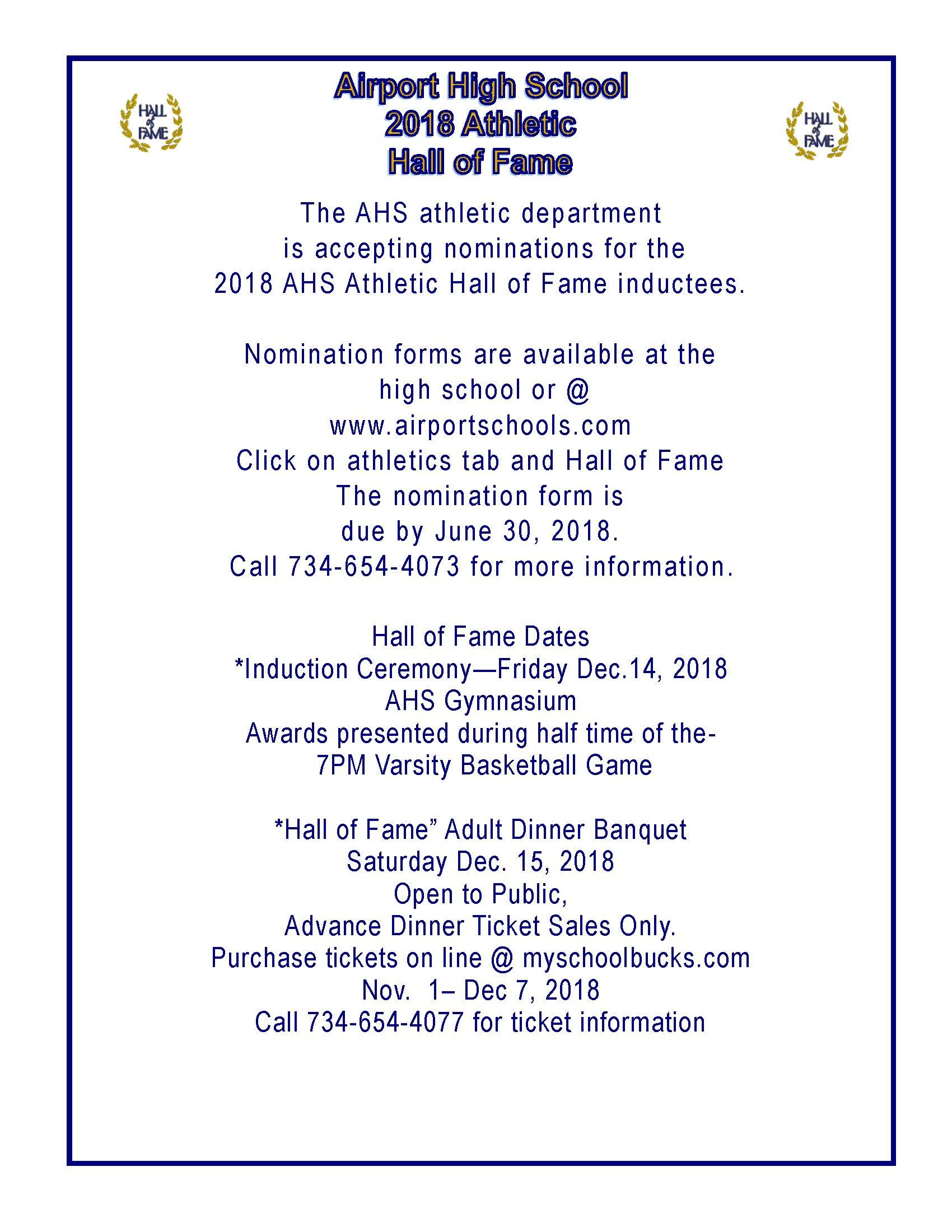 2018 Hall of Fame Information