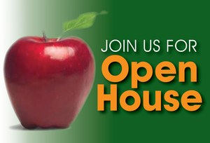 OPEN HOUSE with a picture of an apple