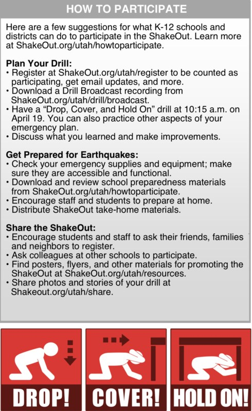 Instructions on how to participate in the great Utah Shakeout
