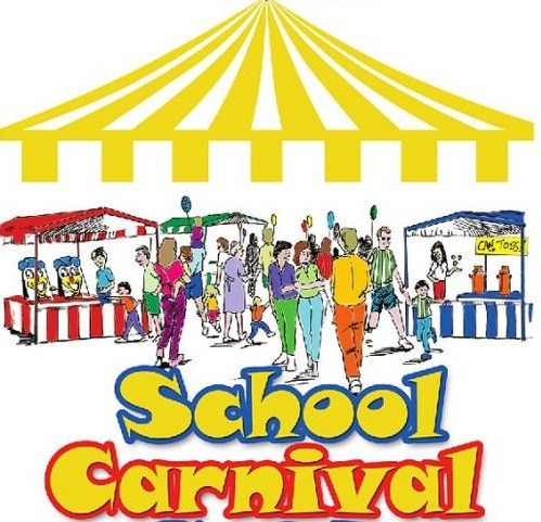 school carnival booths and people