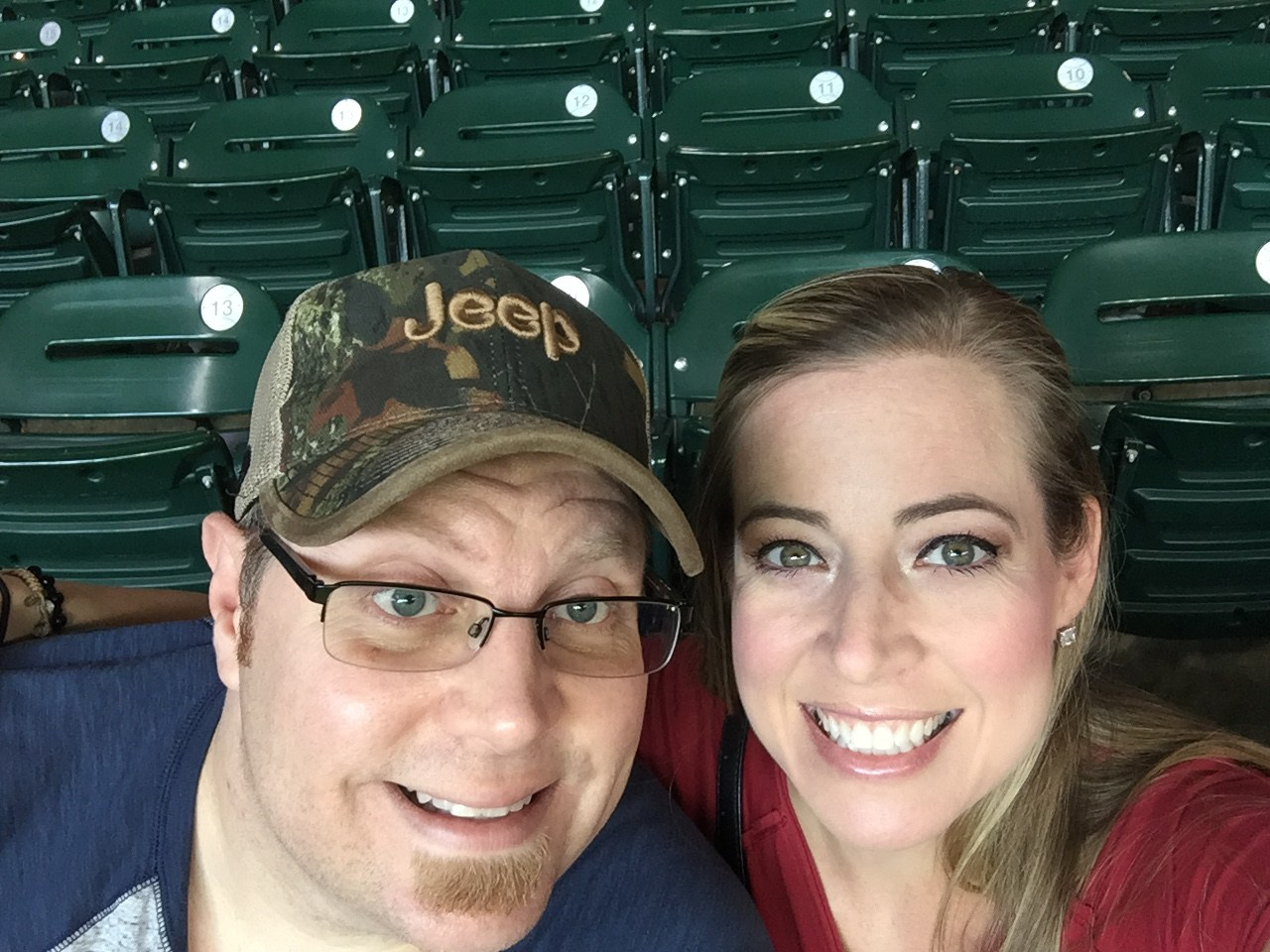 Mrs. Baker and husband at the Houston Astros game
