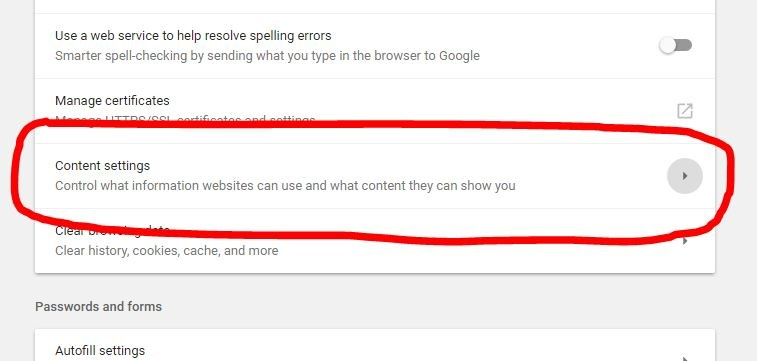 Google content settings