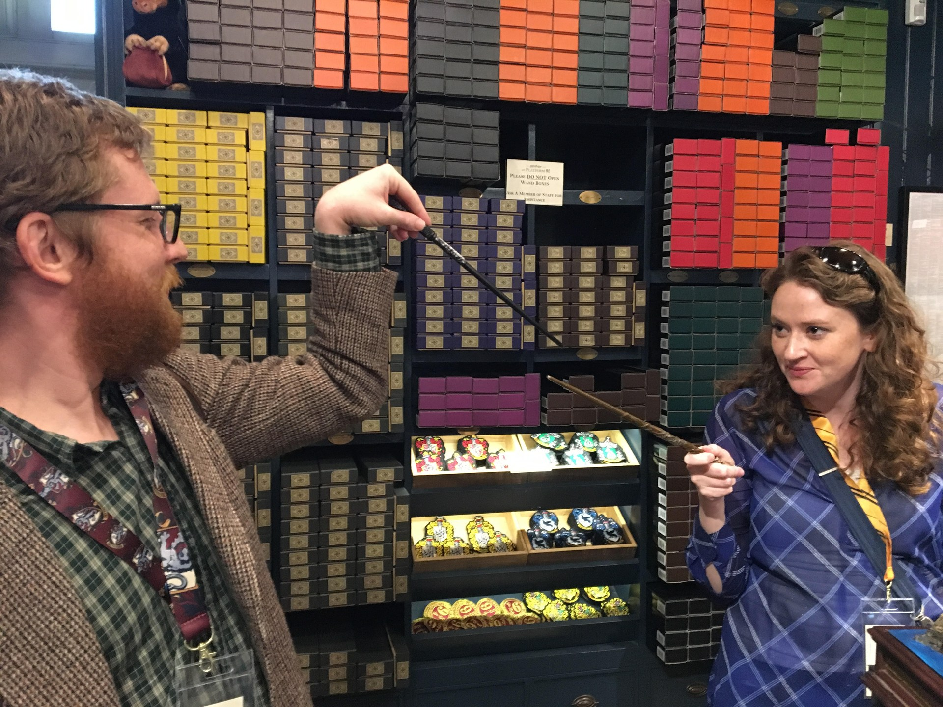 Dueling with my brother at Ollivander's wand shop!