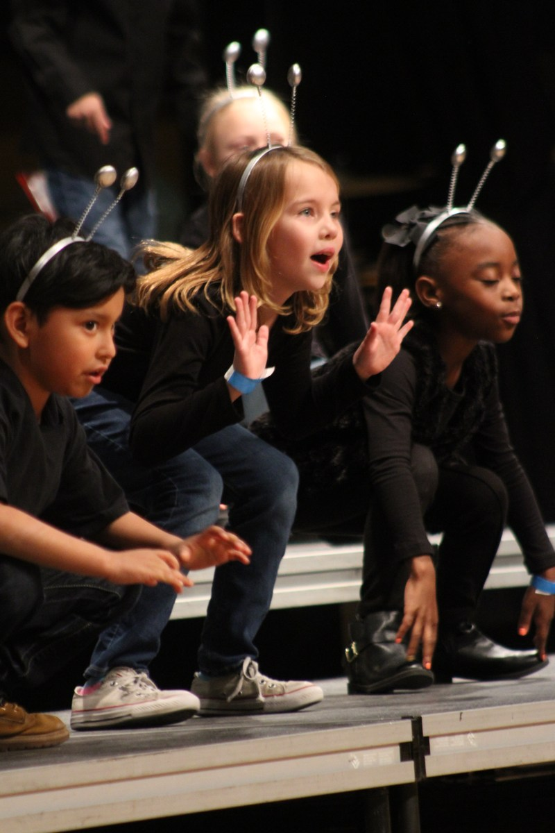 2nd grade students singing at Sweets and Songs 2018