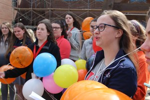 Clare Tracy Speaks at Balloon Release