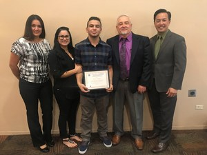 Baldwin Park Unified graduate Isaac Aguila earned his diploma a year early with support from North Park Continuation High School. He is being honored with an Every Student Succeeding Award.