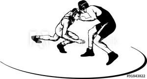 Wrestlers on mat
