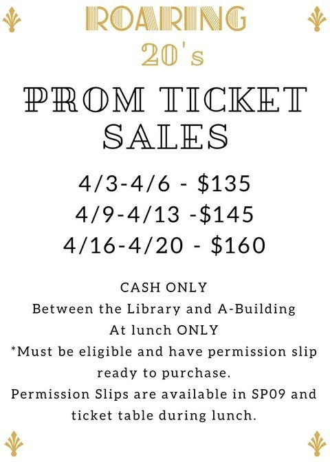 Roaring 20's Prom Tickets Go on Sale After Spring Break During Lunch: CASH ONLY Featured Photo