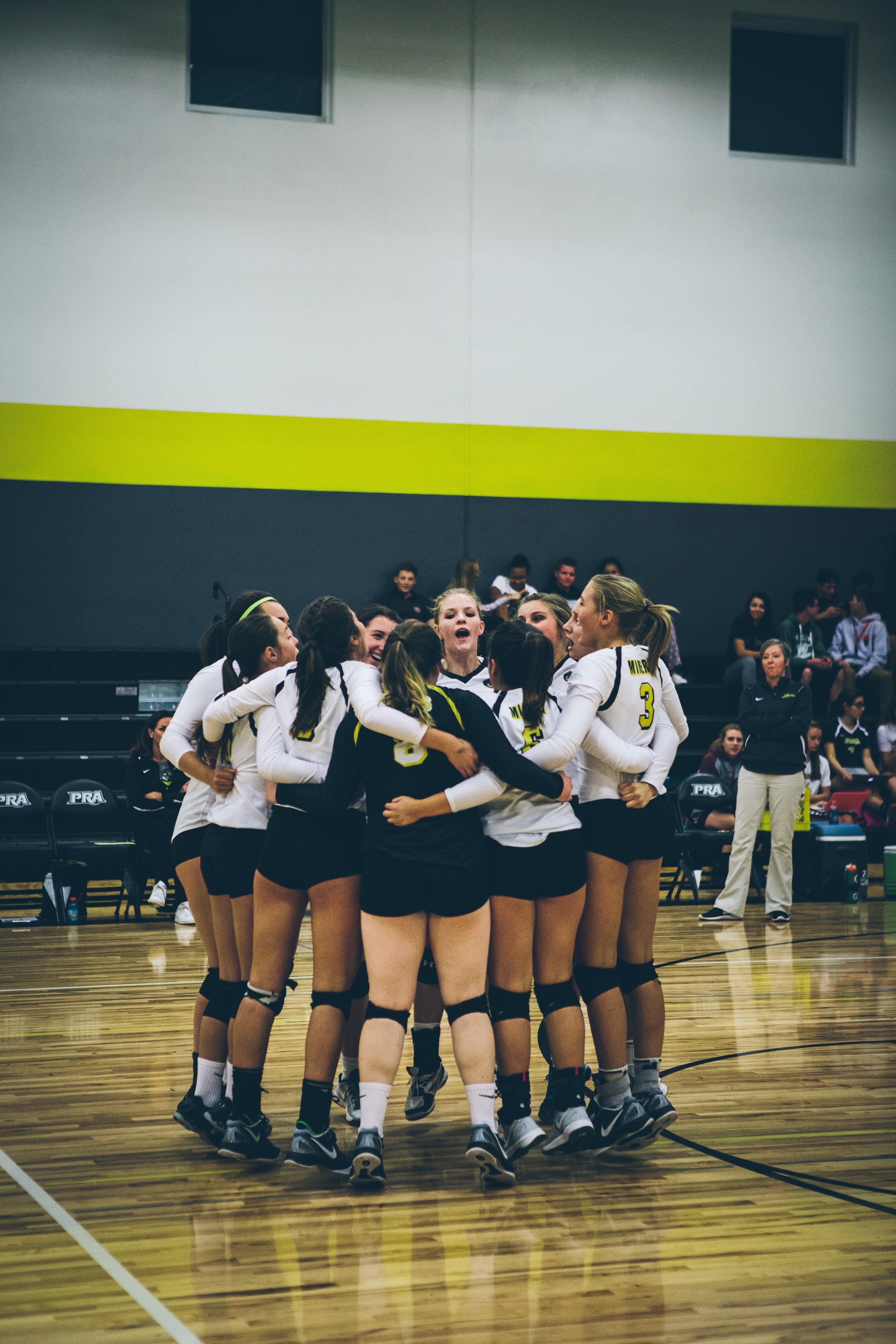 Volleyball team huddle