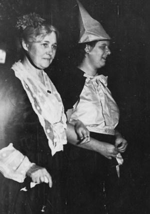 Two ladies in costumes one dressed as Fanny Crosby