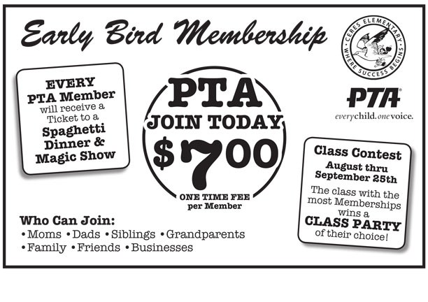 Early Bird PTA Membership flyer