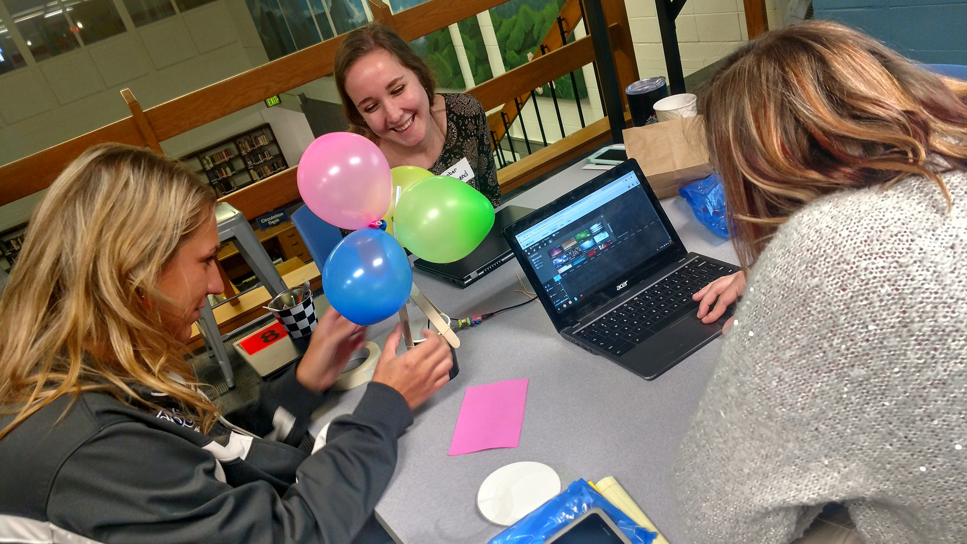 Beginning teachers working on balloon activity