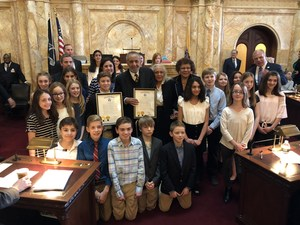 Bear Tavern Students receiving a proclamation form the New Jersey Senate