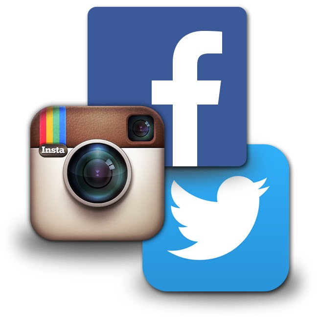 facebook, instagram, and twitter symbols