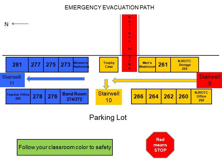 second floor evac map