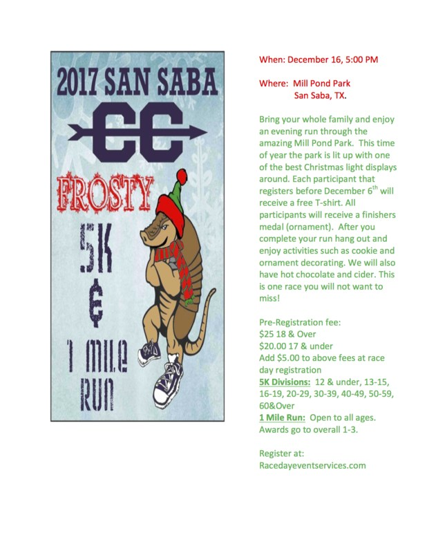 Frosty 5k and 1 Mile Run Information