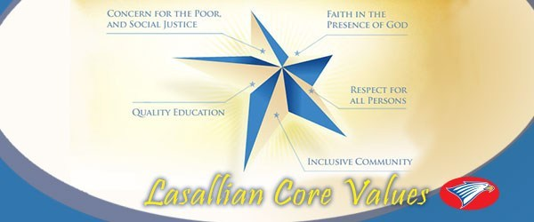 Graphic in shape of star depicting Lasallian values.