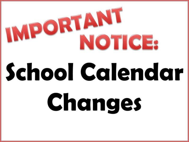 Words School Calendar Changes written out