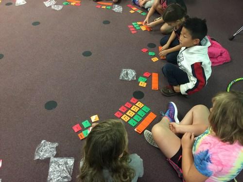 2nd graders working on rhythmic notation in 4/4 meter
