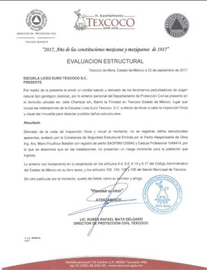 Constancia de protección civil de instalaciones revisadas