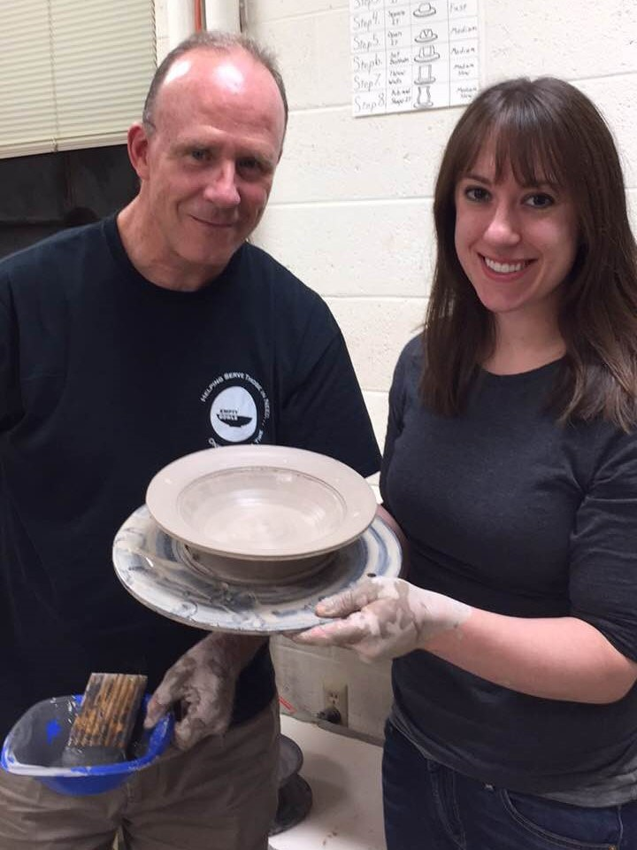 Photos of teacher and former student making a clay bowl.