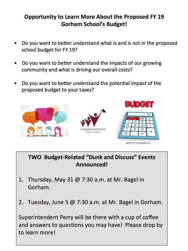 Want to Learn More about the proposed FY 19 Gorham School Budget? Thumbnail Image