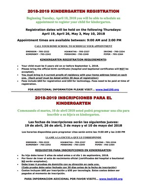 2018-2019 Kindergarten Registration Information