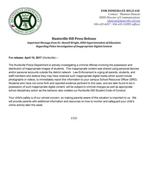 press release April 10, 2017 - Important Message from HISD Superintendent on Inappropriate Content.jpg