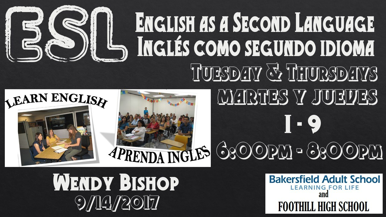ESL Classes Available Now
