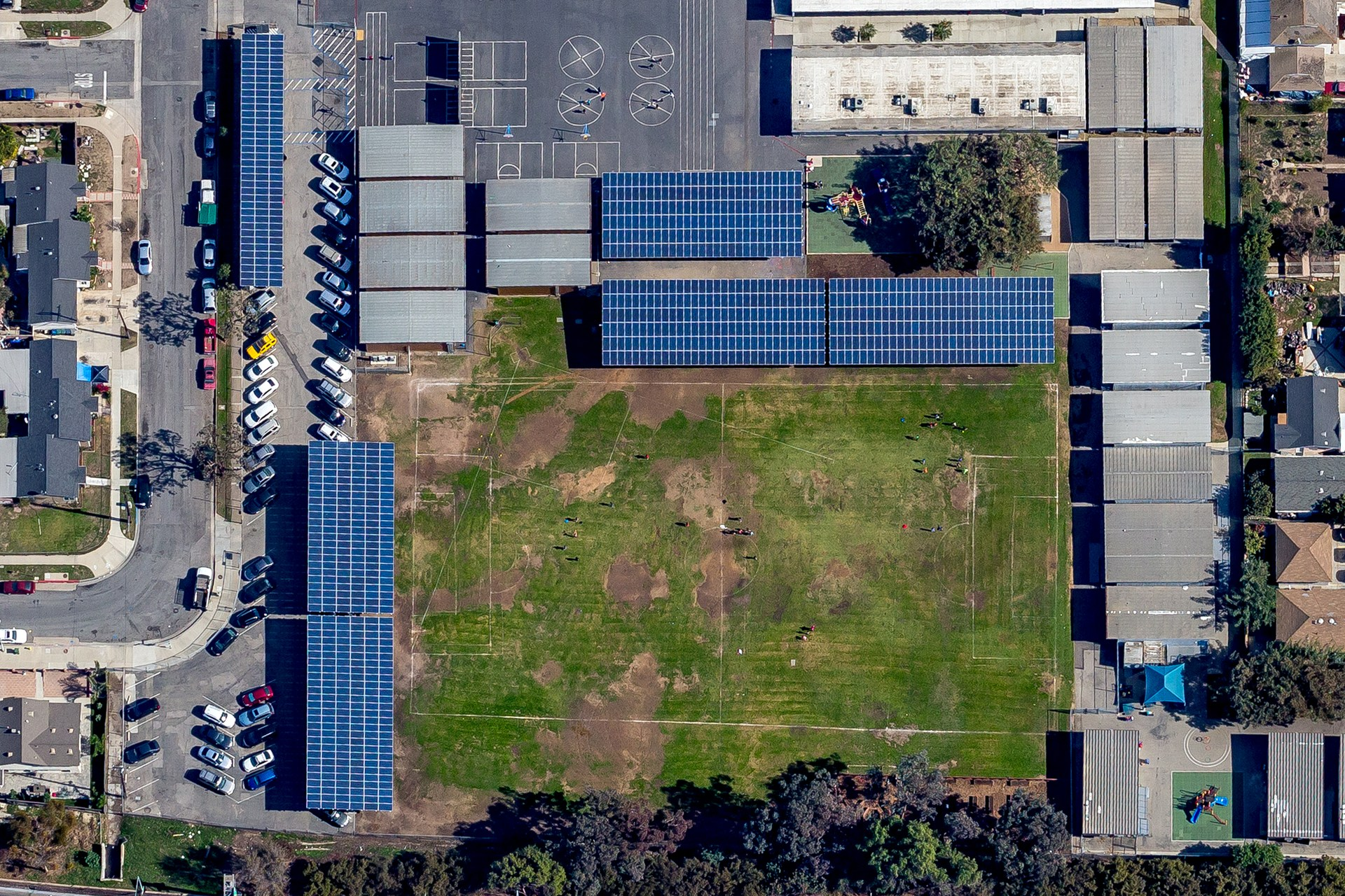 second overhead view of Felton Elementary with solar panels