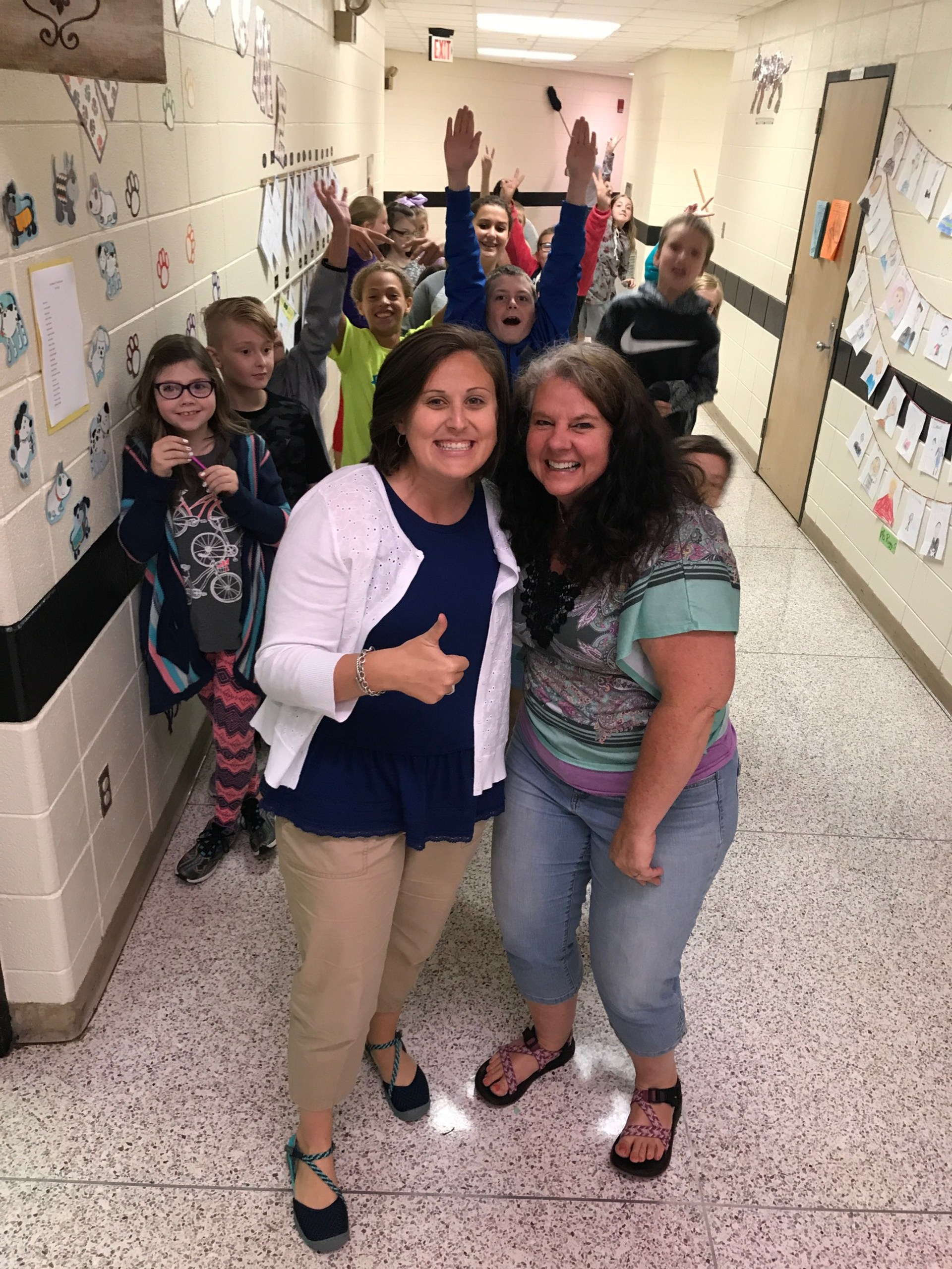 Thumbs up from beginning teacher Emma Wallace and students