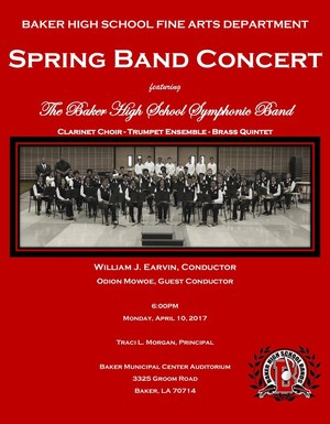 Flyer advertising the Baker High School Symphonic Band Concert on Monday, April 10, 2017