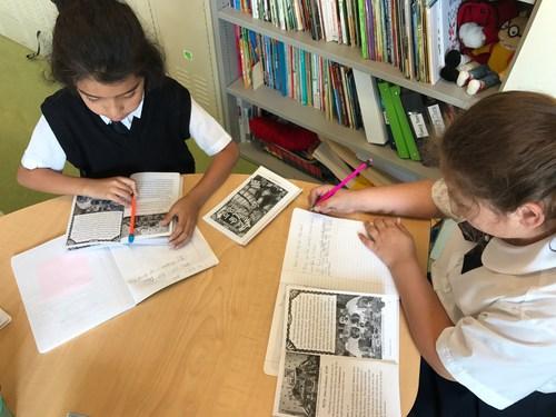 Students learning about Dia de los Muertos